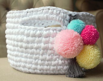 Crochet Storage Basket / Pom Pom Basket / Home Decor