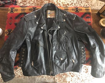 Vintage Excelled Leather Mens Size 44 Motorcycle Jacket With Quilted Lining Made in USA