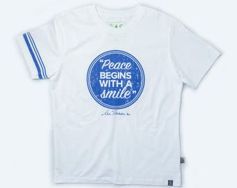 100% Fairtrade Organic Cotton T-shirts with quote 'Peace begins with a smile.' - Mother Teresa