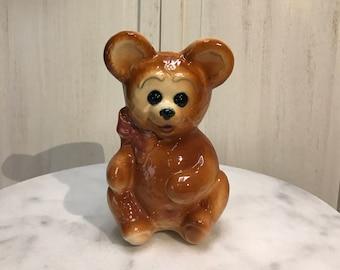 vintage ceramic teddy bear planter, teddy bear, planter/vase, great shape!  Adorable as a baby shower centerpiece with fresh flowers!