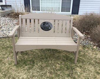 "48"" Memorial Bench with 8.5""x11"" laser engraved Granite Inlay"