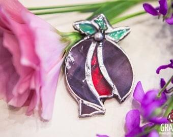 "Stained-glass brooch ""garnet"""