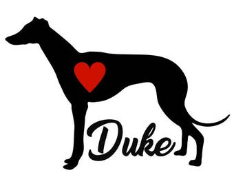 Greyhound Decal, Personalize With Your Dog's Name, Greyhound Sticker, Greyhound Dog Decal, Racing Dog, Track Dog, Greyhound racing Decal