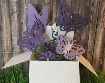 Handmade Paper Floral Butterfly Embossed Popup Card