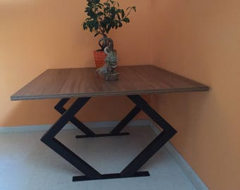 Console table, side table, coffee table, coffee table made of steel with wood in the industrial design