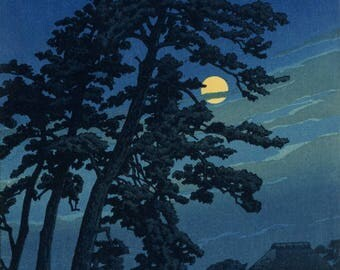 "Japanese Art Print ""Full Moon in Magome"" by Kawase Hasui, woodblock print reproduction, asian art, cultural art, moonlit, night, field"