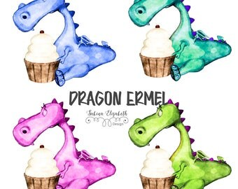 Dragon Ermel 3, Watercolor Clipart, Baby, Child, Fun, Craft