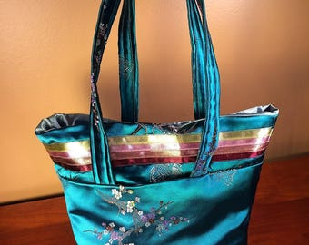 Teal Satin Brocade Bag