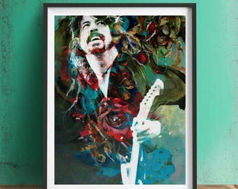Dave Grohl Print or Canvas, Wall Art, Artwork, Gift