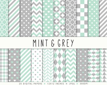 Mint Gray Digital Paper Commercial Use Mint Grey Digital Paper Mint Digital Paper