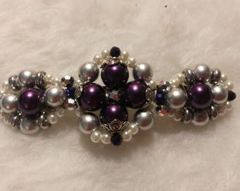 Beaded Barrette, Quad Design, PurplePearl1