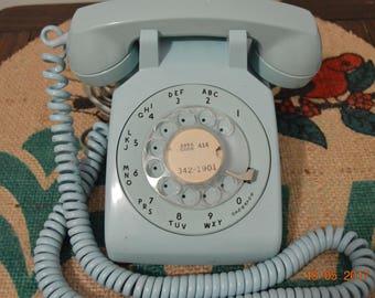 Vintage Robin Egg Blue Rotary telephone