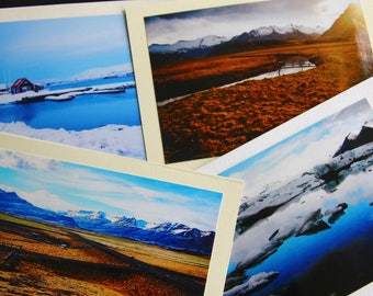 Bundle of four photo greeting cards on recycled paper Iceland