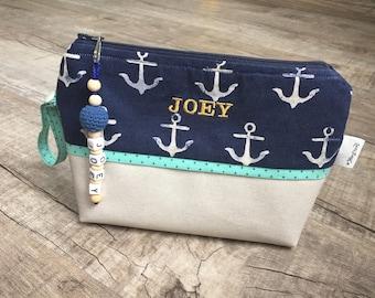 Leather Diaperpouch Toiletries bag (Navy Blue Jean Anchors) cosmetic bag / diaper bag /diaper clutch /diaper purse