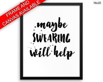 Help Prints  Swearing Canvas Wall Art Help Framed Print Swearing Wall Art Canvas Help naughty swear funny quote dorm poster funny print