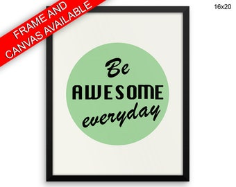 Awesome Printed  Poster Awesome Framed Awesome Motivation Art Awesome Motivation Print Awesome Canvas Awesome Green Vintage Art Be Awesome