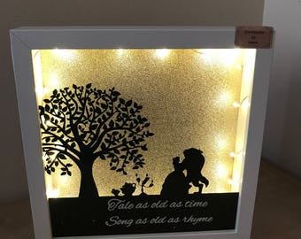 Beauty and the beast light up frame
