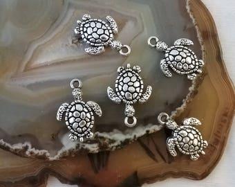 Antique silver turtle tortoise Charm Pendant, Turtle Charms, Tortoise Charms, Beach Charms, Nautical Charms, Ocean Charms, 5pcs, 22mm
