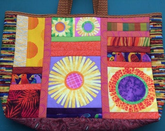 Patchwork tote, quilted tote, handmade tote, quilted bag