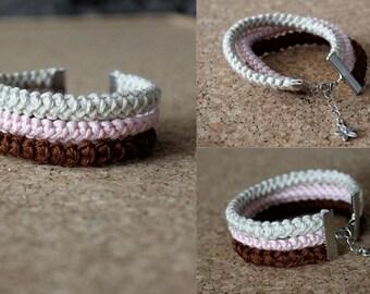 Hand Crochet Bracelet, Cotton Bracelet, Rope Bracelet, Eco Friendly Jewelry, Crochet Cord Bracelet, Cotton Anniversary Gift for Her