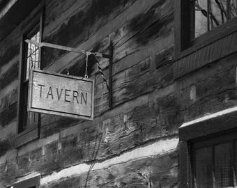 The Tavern is Open - Black and White Art Print