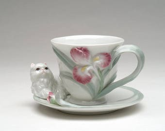 Persian Cat Cup and Saucer Set (PC48206)