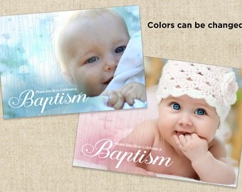 Baptism Invitation, Baby Photo Birth Announcement, Custom (5x7 - 2 sides) Printable file or Printed Cards.