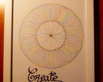 """Colorful mandala """"CREATE"""""""