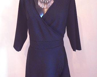 Cross-front dress black 3/4 sleeve, v-neck Black cross dress, 3/4 sleeves, V neckline.
