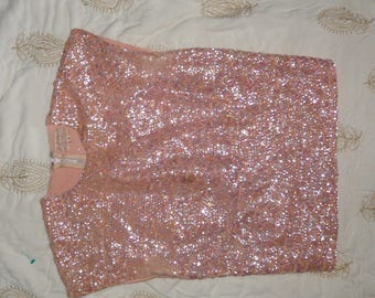 1950s Peach Sequin Shell Top, Size Small.