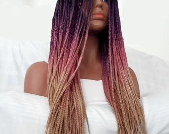 COSTUME MADE  Lace Front Ombre braided wig 33' bleached knots (w/baby hair upon request) (ombre colors-blk purple pink blonde)