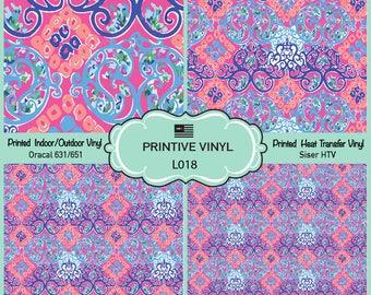 Lilly P inspired Damask Pattern Printed Vinyl/Siser HTV/ Oracal/ Indoor Vinyl/ Outdoor Vinyl/ Heat Transfer Vinyl- L018