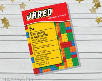 DIGITAL Lego Birthday Invitation & Gift Tags, Colorful Blocks Invitation, Bricks Birthday Invitation, Lego blocks Birthday Invitation