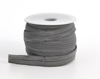 "Foldover elastic, .625"" Wide, 25 yds, Grey"