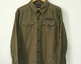 X- Girl military design paint spots olive Green shirt.sz 2/M