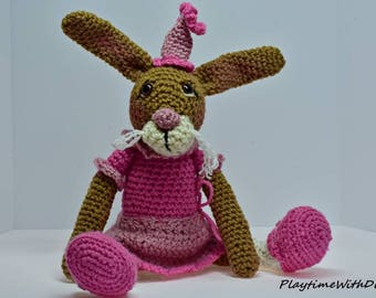 LOVEY the rabbit,cute as a button,crocheted, crochet, toy, stuffed, rabbit,