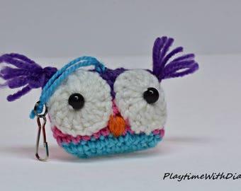 Owl Bag Charm, Owl Keychain,  Stuffed Animal, Owl, Toy, Stuffed Toy, Crocheted stuffed toy, crochet stuffed owl, stuffed owl, purple, pink