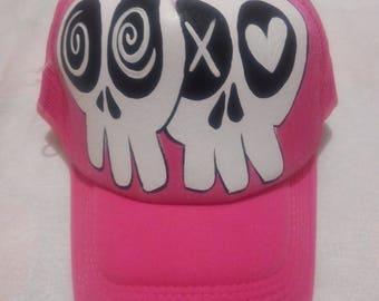 handpainted skull trucker hat, handpainted baseball cap, handmpainted hat, sugar skulls, pink and white, day of the dead, PuraVidaArtHouse.