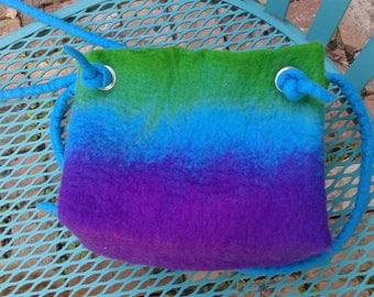 Hand felted multicolored purse