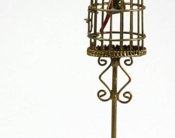 Dollhouse Small Gold Bird Cage with Bird