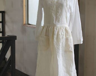 Front gather linen apron white linen 100% [MY BEST APRON]