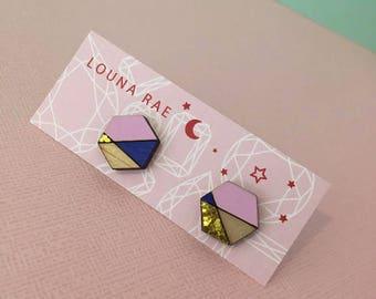 Geo Stud Earrings - Pink/Blue/Gold