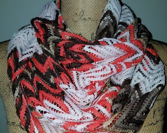 G acrylic zigzag design orange gold brown and white infinity scarf