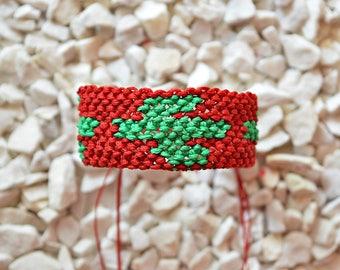 Summer Jewelry| Hippie bracelet for men| Boho bracelet| Red Green| Cactus bracelet | Macrame bracelet| Friendship small Cuff bracelet|