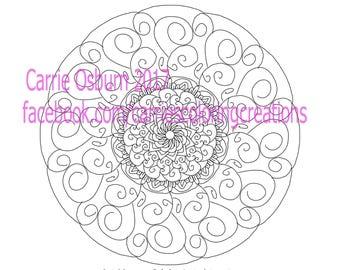 Hand drawn Mandala coloring page number 4 swirls