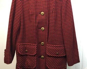 Vintage 1960's Red & Black Herringbone Wool Coat by Penguin