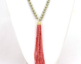 Wood bead tassel drop long necklace