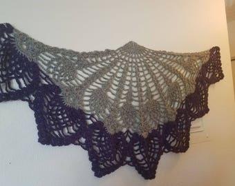 crochet gray shawlette