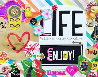 """Hand made frame with quote """"Life is like a box of chocolate - enjoy!"""" 14x20 cm"""