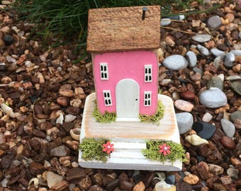 Miniature Cottage/House handmade handpainted collectable art Pretty pink driftwood